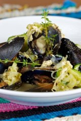 Great with crusty bread ... mussels with zucchini and eggs.