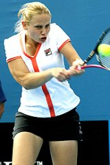 Jelena Dokic on her way to a win against Alicia Molik yesterday.