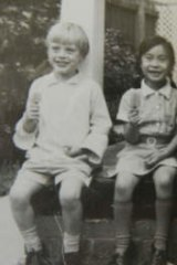 Bridie enjoying an icy pole with his sister Sandy and friend Michael Louey and his sister in Deepdene in the late '60s.