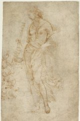 Attributed to Raphael, Female Figure with a Tibia, dated c. 1504-1509, pen and brown, ink, 30.5 x 44.5cm, in J. Paul Getty Museum, Los Angeles; suspected to be a forgery by Eric Hebborn. Copyright The J. Paul Getty Museum, Los Angeles.