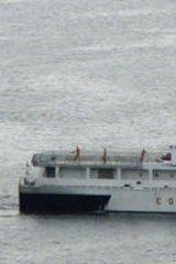 A Philippine Coast Guard vessel returns to port in Manila.