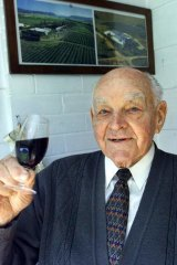 Top drop: Perc McGuigan at his Rutherford home in in 2003.