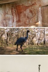 From top: A rock art painting thought to represent the flightless bird Genyornis newtoni, which adorns a shallow rock shelter in the Arnhem Land plateau; an artist's impression of the bird; a historical photo of an Aboriginal man; and the film team during the making of First Footsteps, which argues Aboriginal people and megafauna co-existed.