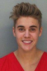 Resisted arrest ... The police booking mug shot of 19-year-old Canadian Justin Bieber.