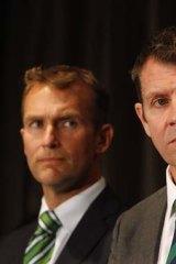 """Slammed """"Pre-gateway"""" review system: Environment Minister Rob Stokes, left, pictured with Premier Mike Baird."""