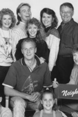 Neighbours at war: In the 1980s, Australia loved to loathe the meddlesome Nell Mangel (Vivean Gray) sitting,  second from right.