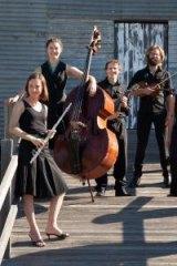 The Griffyn Ensemble: from left - Kiri Sollis (flute), Holly Downes (double bass); Michael Sollis (mandolin); Chris Stone (violin); Laura Tanata (harp); Susan Ellis (singer).