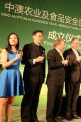 Toasting to food exports (from right): New Hope's Liu Yonghao, Han Changfu (Agriculture Minister), Barnaby Joyce and Andrew Forrest.