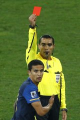 Disbelief: Tim Cahill's fateful red card against Germany at the 2010 World Cup in South Africa.