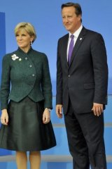 Keen to ensure terrorism risks are tackled head-on: Julie Bishop with David Cameron.