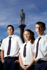 History students (from left) Adam Billsborough, Sophie Burdett and Angus Morris.