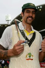 All smiles: Australian paceman Mitchell Johnson after being awarded man-of-the-match for the second Test.