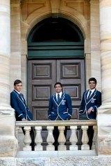 Boarding call: Saint Ignatius' College students Lincoln Whiteley, Denzel Tighe and Alex Barker.