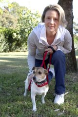 Appeal... Premier Kristina Keneally with her dog Barker in Pagewood.