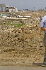 Paul Steinfort stands in the ruins of Banda Aceh after the tsunami struck.