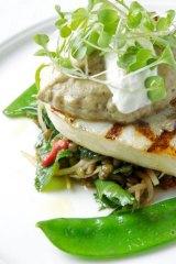 Swordfish on a warm lentil salad.