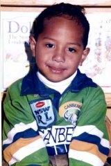 Sami Sauiluma in his Raiders jersey as a kid.