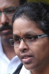 Shashi Madamshetty outside the court yesterday.