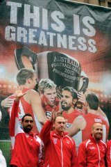 Flying high: Sydney's Adam Goodes, John Longmire and Jarrad McVeigh (from left) in the lead-up to the final battle.
