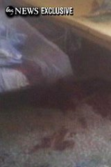 This frame grab from video obtained exclusively by ABC News shows a section of a bloodied room at the Abbottabad mansion.