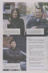 Miriam, Norman and George: Uber's full-page ad in the Herald Sun.