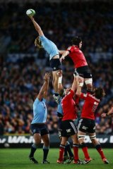 Up there, Hooper: Michael Hooper grabs a lineout for the Waratahs.