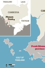 Map of the area in Cambodia where refugees could be sent.