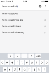 While Google appears not to have applied its scrutiny to  'homosexuality is...'.