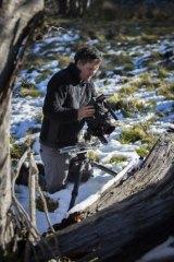 Glen Ryan filming in the snow for <i>brindabellas</i> in Namadgi National Park.