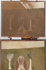 A water-damaged ochre painting (top) by Hector Jandany, Dumbuny (<i>Owl</i>) and the restored versio (bottom)n.