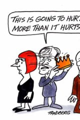 Bill Shorten is taking a crown away from former Prime Minister Julia Gillard and handing it to Prime Minister - elect - Kevin Rudd. Gillard looks upset, Rudd happy. 'This is going to hurt me more than it hurts you!' ALP. Ballot. Leadership. PM.