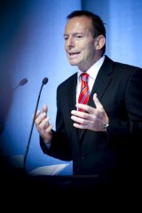 A slight lead ... Tony Abbott's satisfaction rating is 34 per cent, just ahead of Julia Gillard.