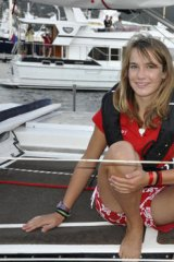Laura Dekker aboard her yacht named Guppy.