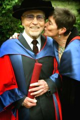 Joseph Ciampa, 91, is congratulated by his PhD supervisor, Dr Lilit Thwaites.