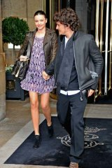 In town ... Miranda Kerr and Orlando Bloom.