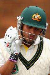 Not looking good: Would-be No. 3 Usman Khawaja.