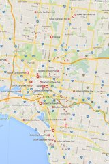 A map of car share parking spaces in inner Melbourne.