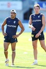 Eddie Betts and Ryan Houlihan at team training.