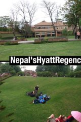 "Twitter post from @JigmeUgen: ""#SHAME: Open spaces in #Nepal limited & cramped but #HyattRegency still exclusive for rich & westerners""."