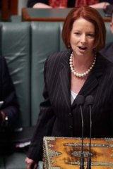 Stoush time: Prime Minister Julia Gillard responds to an opposition question in Parliament on Wednesday.