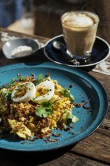 Cafe treat: Kedgeree with smoked fish, crispy shallots and soft boiled egg.