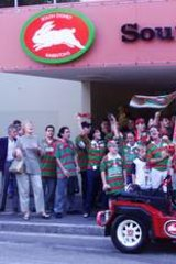 ... And unhappy times too. Angry Souths supporters gather outside the Leagues Club after the announcement that they were to be excluded from the NRL in 2000.