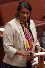 Senator Nova Peris makes a statement to the Senate  on Thursday.
