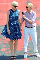 All smiles: Ellen DeGeneres with her wife Portia de Rossi.
