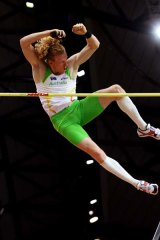 Steven Hooker winning the pole vault at the World Indoor Championships in Qatar last week.