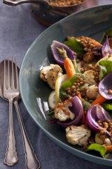Warm roast veggie salad with lemony lentils.