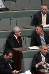 Independent MP Craig Thomson votes with the opposition during a division in Parliament.
