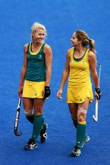 Casey Eastham (left) and Ashleigh Nelson chat during a training session in London.