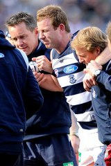 In doubt: Geelong's Steve Johnson will be given a rigorous test on Friday.