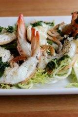 The grilled prawn salad.